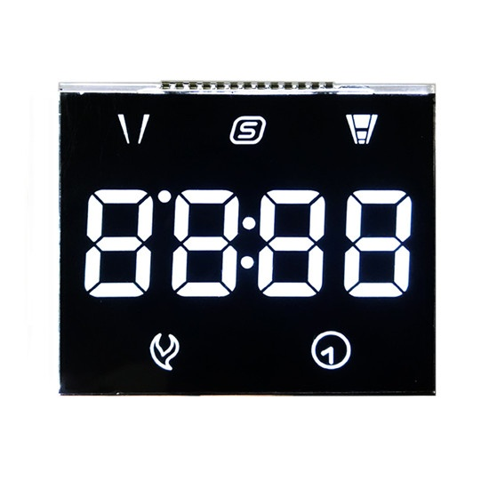 Custom VA Black Segment LCD Display With White Letters